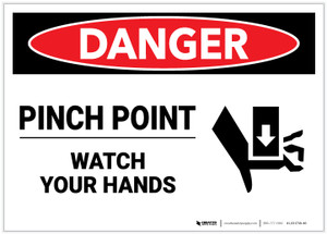 Danger: Pinch Point Watch Your Hands - Label