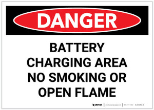 Danger: Battery Charging No Smoking or Open Flame - Label