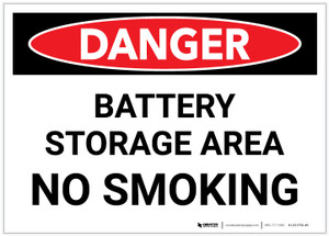 Danger: Battery Storage Area No Smoking - Label