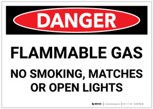 Danger: Flammable Gas No Smoking Matches Open Lights - Label