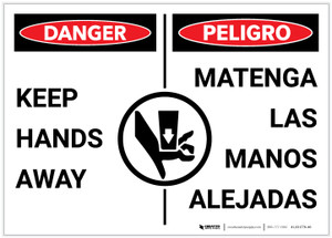 Danger: Keep Hands Away with Graphic Bilingual Spanish - Label