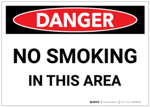Danger: No Smoking In This Area - Label