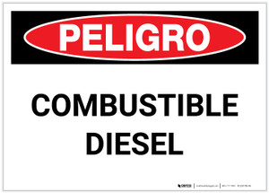 Danger: Combustible Diesel Spanish - Label