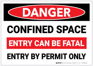 Danger: Confined Space Entry Can Be Fatal Entry By Permit Only - Label