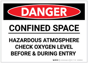 Danger: Confined Space Hazardous Atmosphere - Label