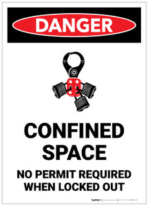 Danger: Confined Space No Permit Required When Locked Out With Icon - Label