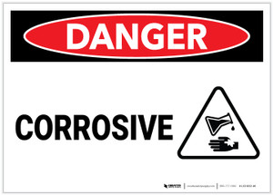 Danger: Corrosive With Icon - Label
