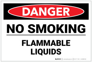 Danger: No Smoking/Flammable Liquids - Label