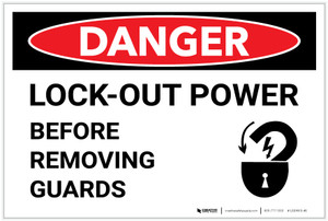 Danger: Lock Out Power - Label