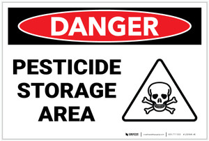 Danger: Pesticide Storage Area With Icon - Label