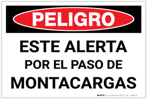 Danger: Spanish Look Out For Forklifts - Label
