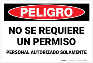 Danger: Spanish Non Permit Confined Space - Label