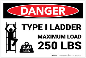 Danger: Type I Ladder Maximum Load 250 Lbs - Label