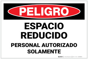 Danger: Confined Space Authorized Personnel Only Spanish Landscape - Label