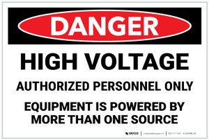 Danger: High Voltage Equipment Powered By More Than One Source Landscape - Label