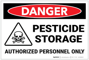 Danger: Pesticide Storage Authorized Personnel with Icon Landscape - Label
