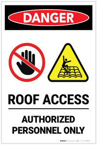 Danger: Roof Access Authorized Personnel Only Portrait with Icons- Label