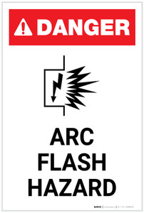 Danger: Arc Flash Hazard with Icon Portrait - Label