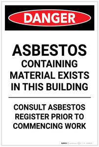 Danger: Asbestos Containing Material Exists in This Building Portrait - Label