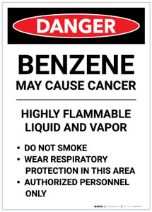 Danger: Benzene May Cause Cancer Highly Flammable Liquid Portrait - Label