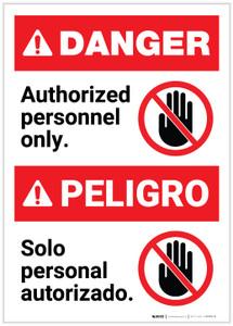 Danger: Bilingual Authorized Personnel Only Spanish Portrait - Label