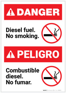 Danger: Bilingual Diesel Fuel No Smoking Spanish Portrait - Label