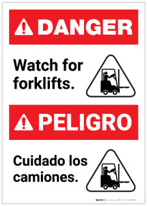 Danger: Bilingual Watch for Forklifts Spanish Portrait - Label