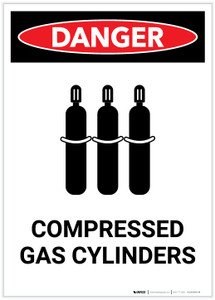 Danger: Compressed Gas Cylinders Portrait - Label