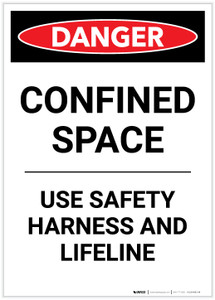 Danger: Confined Space Use Safety Harness Portrait - Label