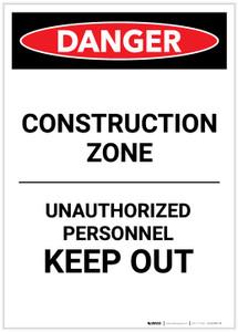 Danger: Construction Zone Authorized Personnel Portrait - Label