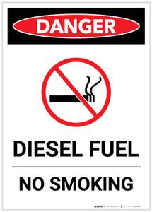 Danger: Diesel Fuel No Smoking Portrait - Label
