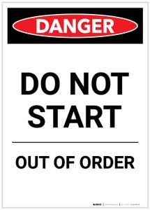 Danger: Do Not Start Out Of Order Portrait - Label