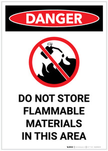 Danger: Do Not Store Flammable Materials with Icon Portrait - Label