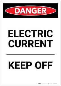 Danger: Electric Current Keep Off Portrait - Label