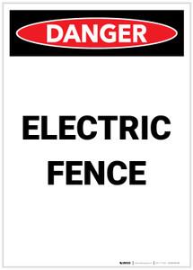 Danger: Electric Fence Portrait - Label