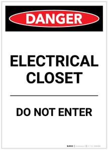 Danger: Electrical Closet Do Not Enter Portrait - Label