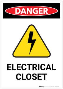 Danger: Electrical Closet with Hazard Icon Portrait - Label