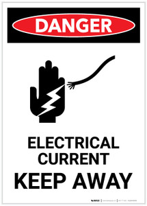 Danger: Electrical Current Keep Away With Icon Portrait - Label