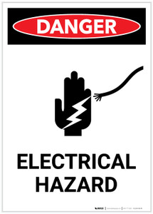 Danger: Electrical Hazard with Icon Portrait - Label