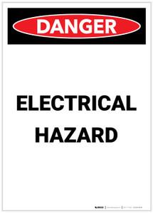 Danger: Electrical Hazard Portrait - Label