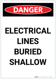 Danger: Electrical Lines Buried Shallow Portrait - Label