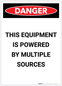 Danger: Electrical Powered Multiple Sources Portrait - Label