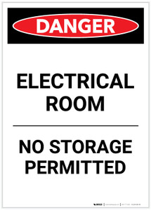 Danger: Electrical Room No Storage Portrait - Label