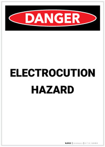 Danger: Electrocution Hazard Portrait - Label