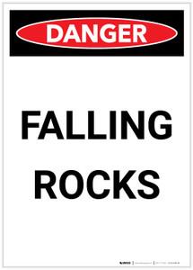Danger: Falling Rocks Portrait - Label