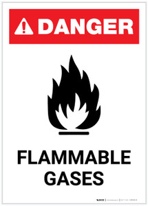 Danger: Flammable Gases with Icon Portrait - Label