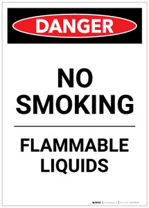 Danger: Flammable Liquids No Smoking Portrait - Label