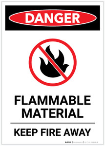 Danger: Flammable Material Keep Away With Icon Portrait - Label
