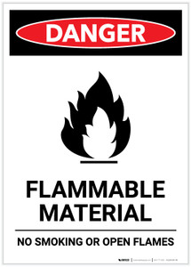 Danger: Flammable Material with Icon Portrait - Label