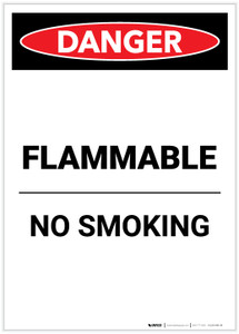 Danger: Flammable No Smoking Portrait - Label